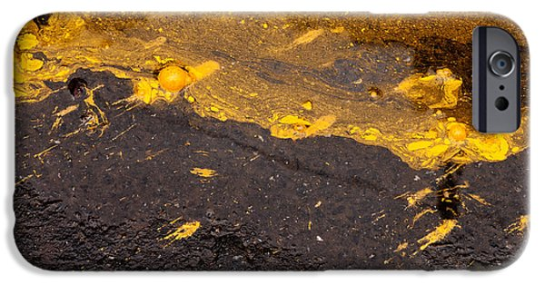 Yellow Ochre iPhone Cases - Yellow Ochre Paint Spill 03 iPhone Case by Rick Piper Photography