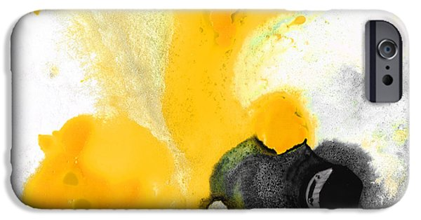 Pastel Paintings iPhone Cases - Yellow Orange Abstract Art - The Dreamer - By Sharon Cummings iPhone Case by Sharon Cummings