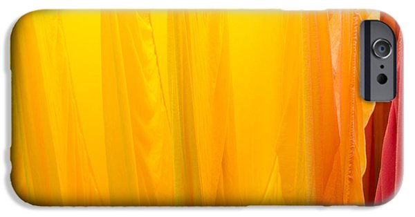 Bed Linens iPhone Cases - Yellow orange and red bed sheets bright and colorful iPhone Case by Matthias Hauser