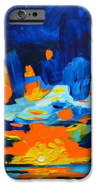 Yellow orange blue sunset Landscape iPhone Case by Patricia Awapara