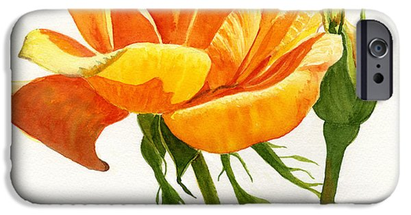 Gold Rose iPhone Cases - Yellow Orange Rose with Bud on White iPhone Case by Sharon Freeman