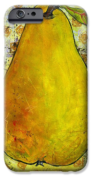 Conceptual Paintings iPhone Cases - Yellow Pear on Squares iPhone Case by Blenda Studio