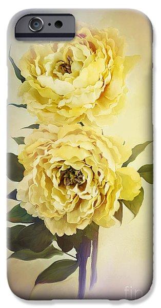 Floribunda iPhone Cases - Yellow Peonies iPhone Case by Stephanie Frey