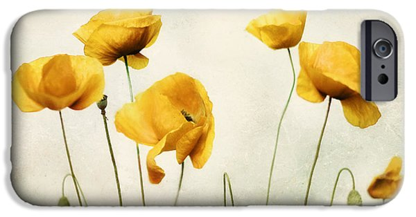 Metal Print iPhone Cases - Yellow Poppy Photography - Yellow Poppies - Yellow Flowers - Olive Green Yellow Floral Wall Art iPhone Case by Amy Tyler