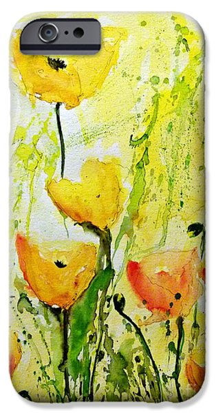 Ismeta iPhone Cases - Yellow Poppys - Abstract Floral Painting iPhone Case by Ismeta Gruenwald