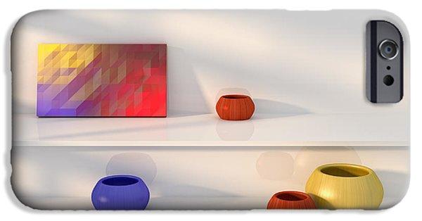 """indoor"" Still Life Digital Art iPhone Cases - Yellow red blue vase still life. iPhone Case by Jan Brons"