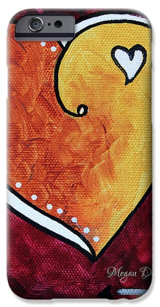 Yellow Red Orange Heart Love Painting Pop Art Love by Megan Duncanson iPhone Case by Megan Duncanson