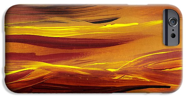 Freed Paintings iPhone Cases - Yellow River Flow Abstract iPhone Case by Irina Sztukowski
