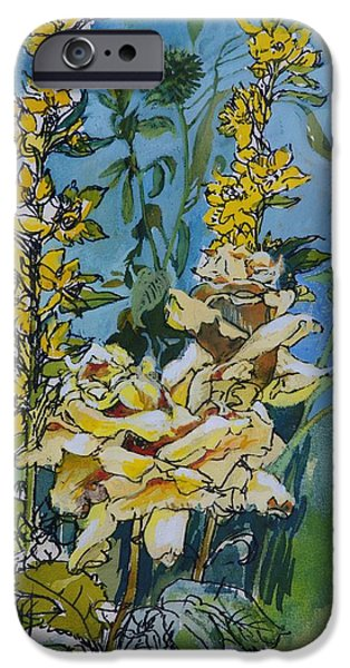 Floral Photographs iPhone Cases - Yellow Rose And Loosestrife, 1983 Pen & Ink With Wc On Paper iPhone Case by Brenda Brin Booker