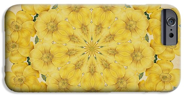 Becky Digital Art iPhone Cases - Yellow Rose Kaleidoscope-1 iPhone Case by Becky Hayes