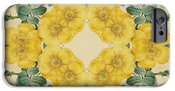 Becky Digital Art iPhone Cases - Yellow Rose Kaleidoscope-2 iPhone Case by Becky Hayes
