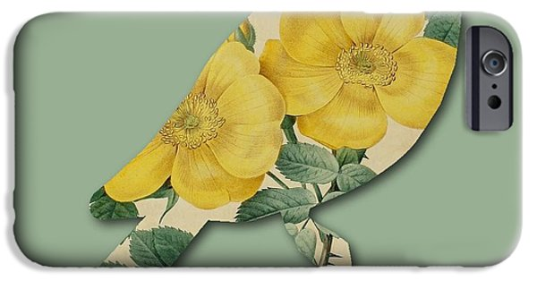 Becky Digital Art iPhone Cases - Yellow Roses Bird iPhone Case by Becky Hayes