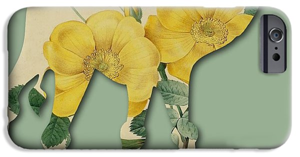 Becky Digital Art iPhone Cases - Yellow Roses Camel iPhone Case by Becky Hayes