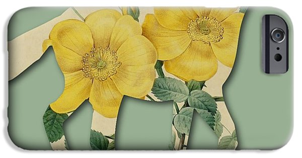 Becky Digital Art iPhone Cases - Yellow Roses Horse iPhone Case by Becky Hayes