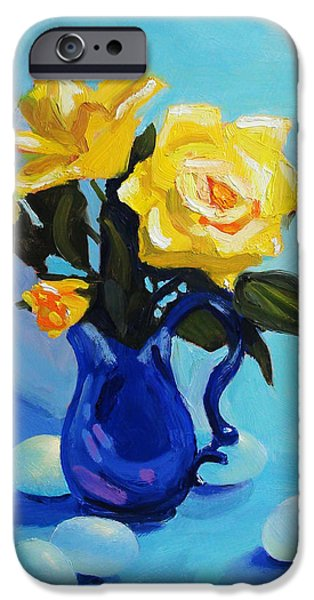 Impressionism Sculptures iPhone Cases - Yellow Roses In Blue Vase iPhone Case by Dan Redmon