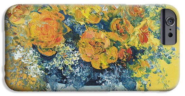Interior Still Life iPhone Cases - Yellow Roses iPhone Case by Jan Matson