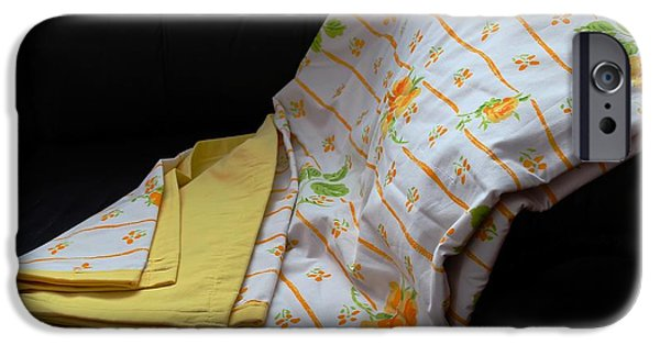 Sheets Tapestries - Textiles iPhone Cases - Yellow Roses on a Quilt iPhone Case by Barbara Griffin