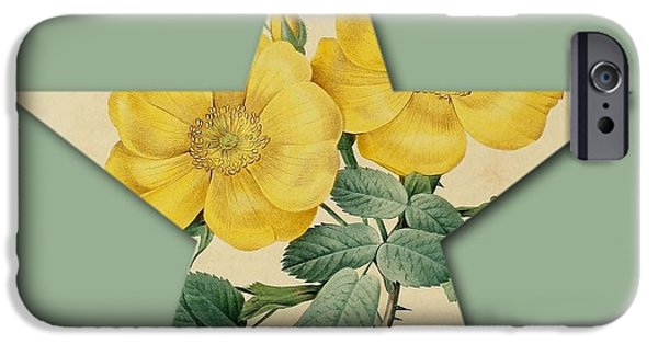 Becky Digital Art iPhone Cases - Yellow Roses Star iPhone Case by Becky Hayes