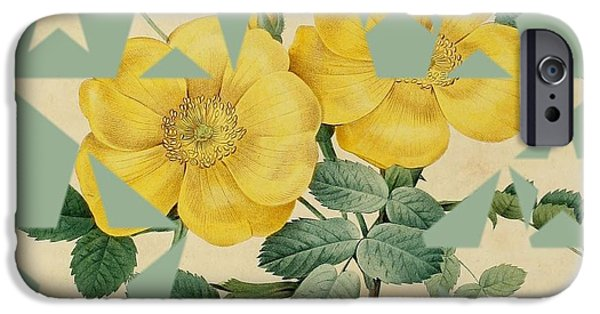 Becky Digital Art iPhone Cases - Yellow Roses Stars iPhone Case by Becky Hayes