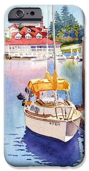 Sailboat Paintings iPhone Cases - Yellow Sailboat and Coronado Boathouse iPhone Case by Mary Helmreich