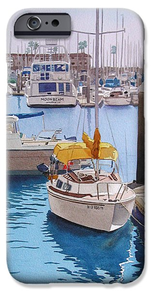 Sailboats Paintings iPhone Cases - Yellow Sailboat Oceanside iPhone Case by Mary Helmreich