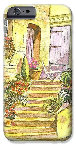 Joyful Drawings iPhone Cases - Yellow Steps iPhone Case by Carol Wisniewski