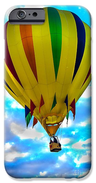 Arizonia iPhone Cases - Yellow Striped Hot Air Balloon iPhone Case by Robert Bales