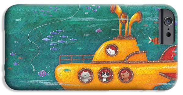 Marine iPhone Cases - Yellow Submarine iPhone Case by Peter Adderley
