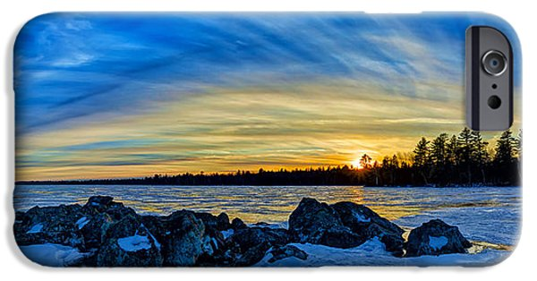 Snow Scene iPhone Cases - Yellow Sunset at Meddybemps Panorama iPhone Case by Bill Caldwell -        ABeautifulSky Photography