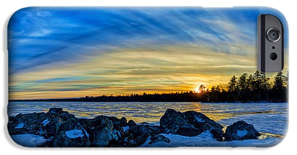 New England Snow Scene iPhone Cases - Yellow Sunset at Meddybemps Panorama iPhone Case by Bill Caldwell -        ABeautifulSky Photography