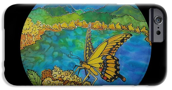 Mountain Tapestries - Textiles iPhone Cases - Yellow Swallowtail iPhone Case by Annelle Woggon