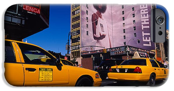 42nd Street iPhone Cases - Yellow Taxies At The Road Intersection iPhone Case by Panoramic Images