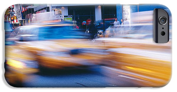 Mode Of Transport iPhone Cases - Yellow Taxis On The Road, Times Square iPhone Case by Panoramic Images