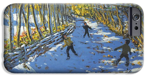 Snowball iPhone Cases - Yellow trees  Allestree Park iPhone Case by Andrew Macara
