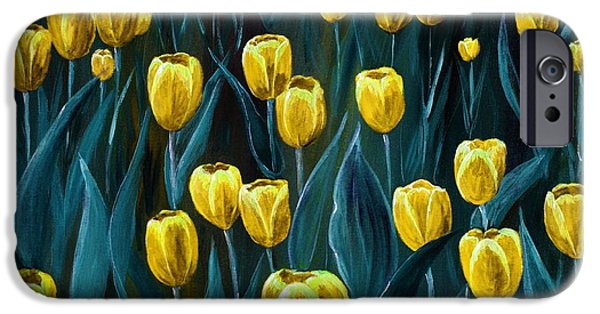 Love Digital Art iPhone Cases - Yellow Tulip Field iPhone Case by Anastasiya Malakhova