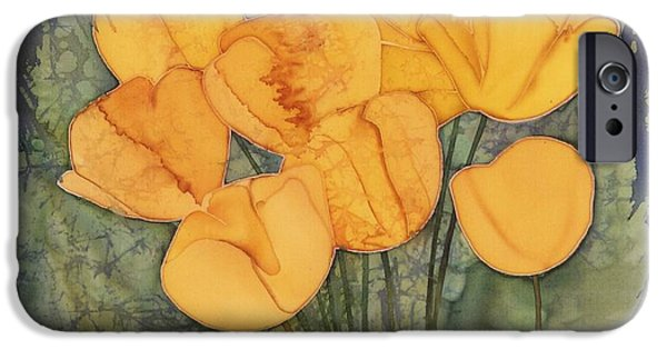 Silk Tapestries - Textiles iPhone Cases - Yellow Tulips iPhone Case by Carolyn Doe
