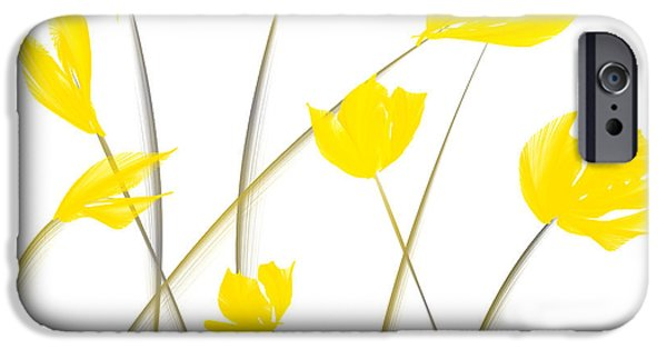 Yellow And Grey Abstract Art iPhone Cases - Yellow Tulips Modern Art iPhone Case by Lourry Legarde