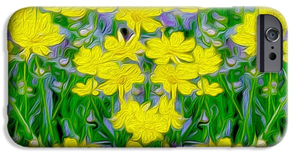 White Daisies iPhone Cases - Yellow Wild Flowers iPhone Case by Jon Neidert