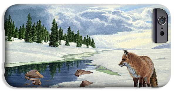 Fox Paintings iPhone Cases - Yellowstone Fox iPhone Case by Paul Krapf