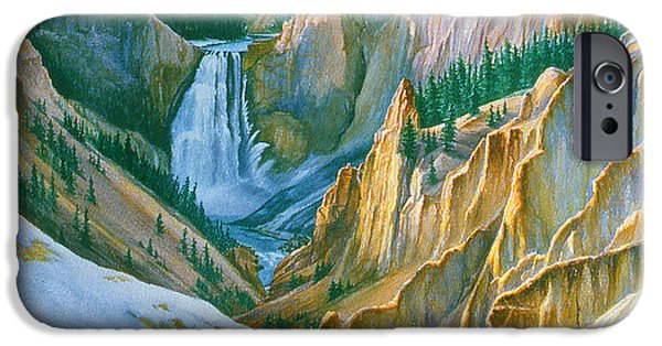 Canyons Paintings iPhone Cases - Yellowstone Grand Canyon - November iPhone Case by Paul Krapf