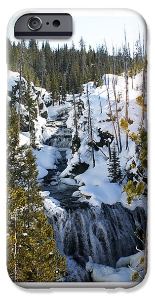 Snowy Brook iPhone Cases - Yellowstone icy river iPhone Case by Jack Pumphrey