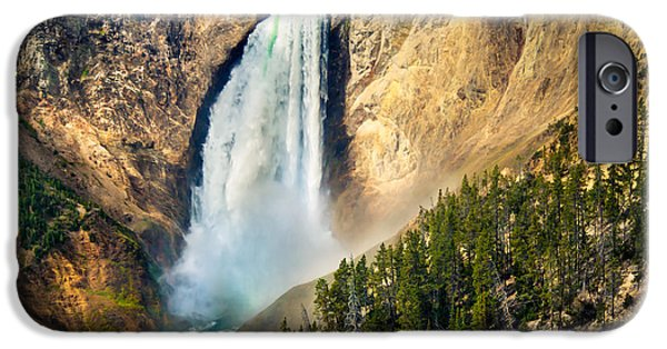 Haybale iPhone Cases - Yellowstone Lower Waterfalls iPhone Case by Robert Bales
