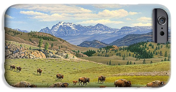 Bison iPhone Cases - Yellowstone Spring iPhone Case by Paul Krapf