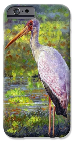 Stork iPhone Cases - Yelow-Billed Stork iPhone Case by David Stribbling