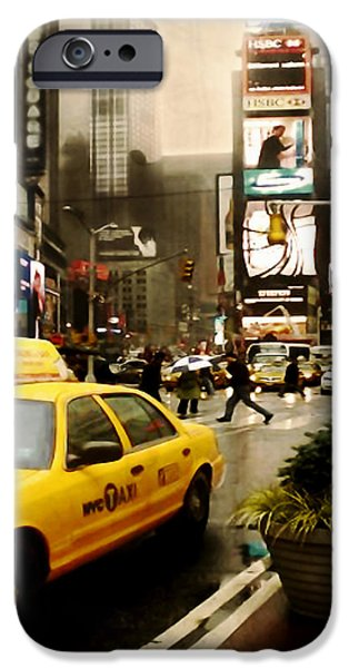 Yelow Cab at Time Square New York iPhone Case by Yvon van der Wijk