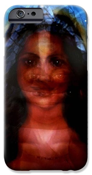 Spiritual Portrait Of Woman Mixed Media iPhone Cases - Yemaya -She Sees All iPhone Case by Carmen Cordova
