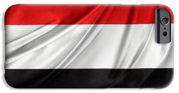 Patriotism iPhone Cases - Yemen flag iPhone Case by Les Cunliffe