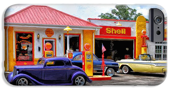Gas Paintings iPhone Cases - Yesterdays Shell Station iPhone Case by Michael Pickett