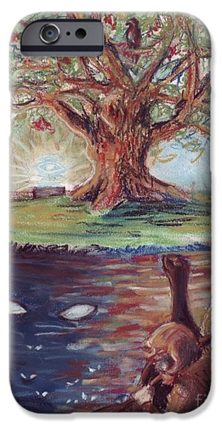 Eagle Pastels iPhone Cases - Yggdrasil - the Last Refuge iPhone Case by Samantha Geernaert