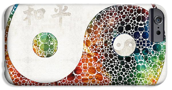 Yin iPhone Cases - Yin And Yang - Colorful Peace - By Sharon Cummings iPhone Case by Sharon Cummings